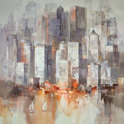 Cityscape Sailing by Wilfred - Original Painting on Box Canvas sized 37x37 inches. Available from Whitewall Galleries